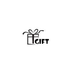 creative gift box abstract logo symbol vector image