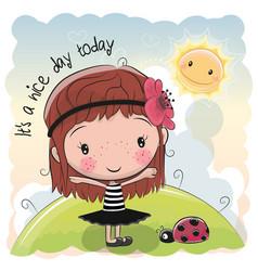 Cute cartoon girl and sun vector