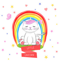Cute kitty and inscription little unicorn vector