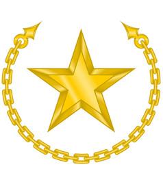 Design a star surrounded chain in gold color vector