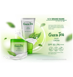 design cosmetics product with green tea extract vector image