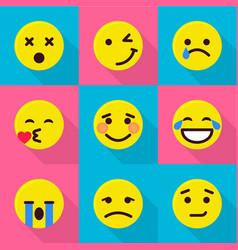 digital emotion icons set flat style vector image
