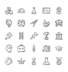 Education doodle icons set vector