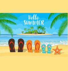 Family flip-flops on beach vector