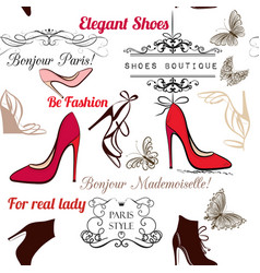 Fashion seamless background pattern with shoes vector