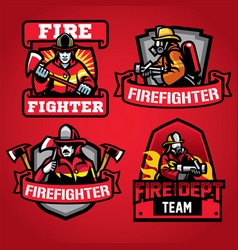 firefighter department badge set vector image