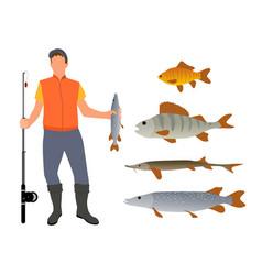 Fisherman model and fish variety poster vector