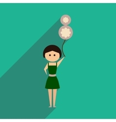 Flat icon with long shadow girl balloon vector
