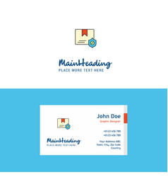 flat protected document logo and visiting card vector image