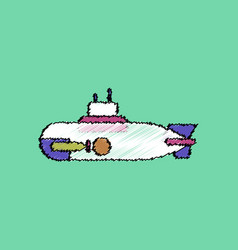 Flat shading style icon military submarine vector