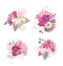floral tropical bouquet boho collection vector image