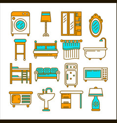 Furniture set in one style and of bright colors vector