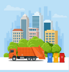 garbage truck or recycle truck in city garbage vector image