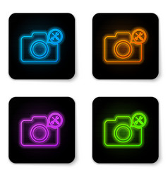 glowing neon photo camera with screwdriver and vector image