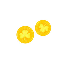 gold coins with a clover leaf isolated on white vector image