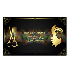 Golden business card for beauty salon vector