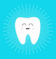 Healthy white tooth icon with smiling face cute vector