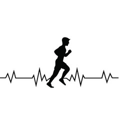 Heart beat runner quote on white background vector