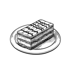 ink sketch mille-feuille dessert vector image