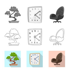 isolated object of furniture and work symbol set vector image