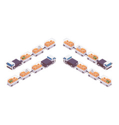 Isometric set electric baggage tractors with vector