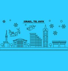 Israel tel aviv winter holidays skyline merry vector