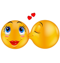 Kissing emoticon vector