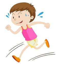 Little boy running alone vector