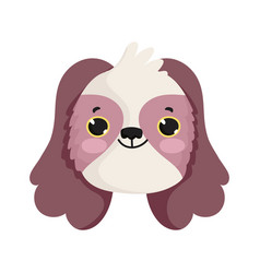 little dog head cartoon isolated icon white vector image