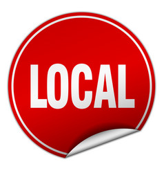 Local round red sticker isolated on white vector