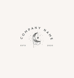 logotype template mystical moon and stars stars vector image