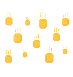 lot of falling yellow coins in pixel art vector image
