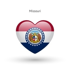 Love Missouri state symbol Heart flag icon vector