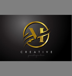 M golden letter logo design with circle swoosh vector