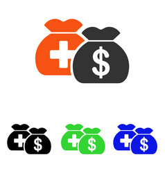Medical fund bags flat icon vector