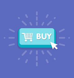 Modern buy button design with mouse click symbol vector