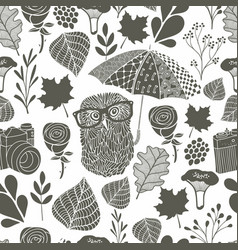 Monochrome seamless pattern with owl under the vector