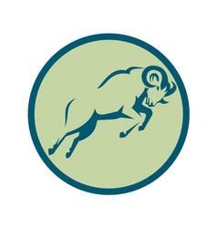 Mountain sheep jumping circle icon vector