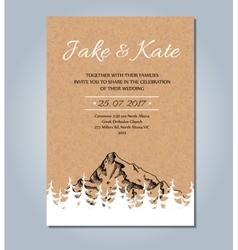 Mountain wedding invitation rustic card vector image