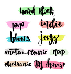 music styles typographic set with hand lettering vector image