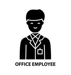 Office employee icon black sign with vector