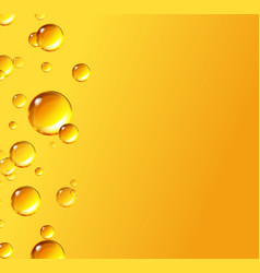 Oil gold bubbles isolated on yellow background vector