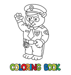panda policeman coloring book animal alphabet p vector image
