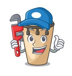Plumber conga mascot cartoon style vector