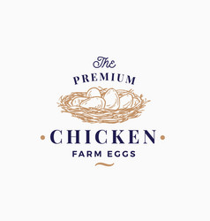 Premium chicken eggs farm abstract sign vector