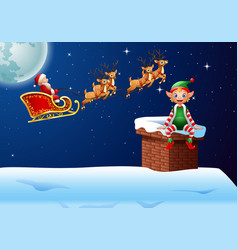 santa riding his reindeer sleight with little elf vector image