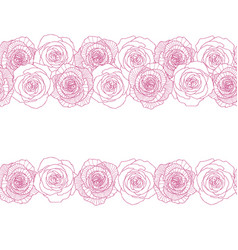 Seamless border made of rose flowers vector