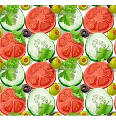 Seamless ornament slices of vegetables vector image