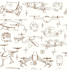 seamless pattern Hand drawn element drone and vector image