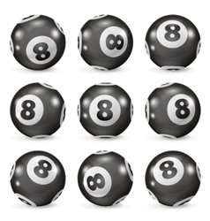 set billiard balls eights from different angles vector image
